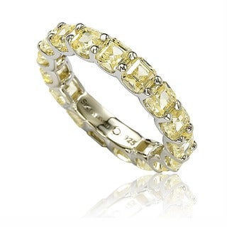Suzy L Sterling Silver Cubic Zirconia Yellow Modern Eternity Band