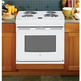 GE White 30-in Drop-In Electric Range