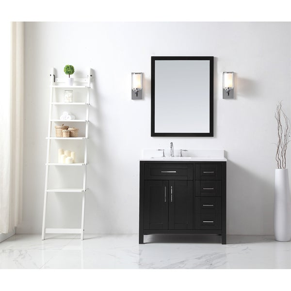 Ove Tahoe 36 X 21 Inch Vanity In Espresso With White Quartz Top And