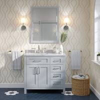 Tahoe 36 in. Vanity in Dove Grey with White Marble Top and Mirror