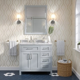 OVE Tahoe 36 x 21-inch Vanity in Dove Grey with White Marble Vanity Top and Mirror