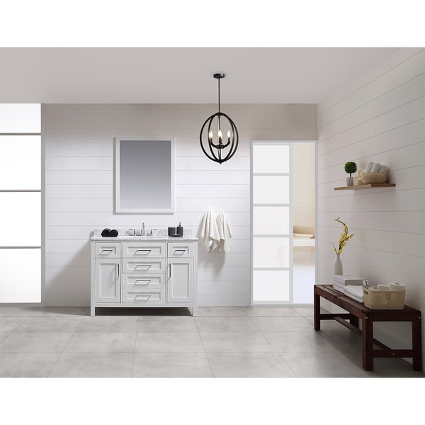OVE Tahoe 48 x 21-inch Vanity in White with White Carrera Marble Vanity Top and Mirror