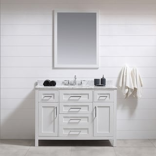 Tahoe 48in Vanity in White with White Carrera Marble Top  and Mirror