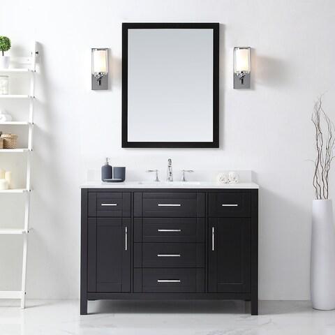 OVE Tahoe 48 x 21-inch Vanity in Espresso with White Quartz Vanity Top and Mirror