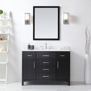 OVE Tahoe 48 x 21-inch Vanity in Espresso with White Quartz Vanity Top and Mirror