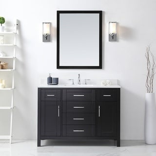 Tahoe 48in. Vanity in Espresso with White Cultured Top and Mirror