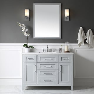 OVE Tahoe 48 x 21-inch Vanity in Dove Grey with White Marble Vanity Top  and Mirror