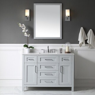 Tahoe 48in. Vanity in Dove Grey with White Marble Top and Mirror