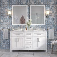 OVE Tahoe 60 x 21-inch Vanity in White with White Carrera Marble Vanity Top  and Mirror