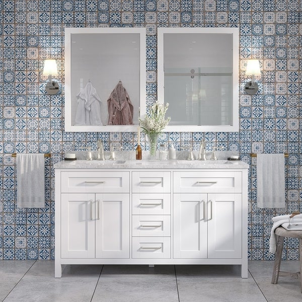 Tahoe 60 in Vanity in White with White Carrera Marble Top and Mirror