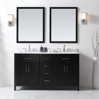 OVE Tahoe 60 X 21 Inch Vanity In Espresso With White Quartz Vanity Top And