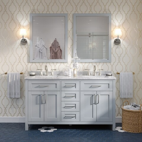 OVE Tahoe 60 x 21-inch Vanity in Dove Grey with White Marble Vanity Top and Mirror