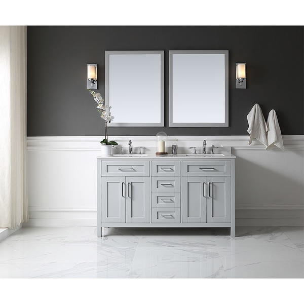 Tahoe 60 In Vanity Dove Grey With White Marble Top And Mirror