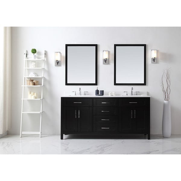 OVE Tahoe 72 x 21-inch Vanity in Espresso with White Quartz Vanity Top and Mirror