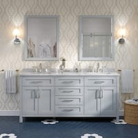 Tahoe 72 in. Vanity in Dove Grey with Marble Top in White and Mirror