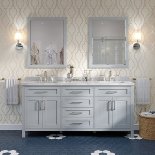 Tahoe 72 in. Vanity in Dove Grey with White Cultured Marble Top in White and Mirror
