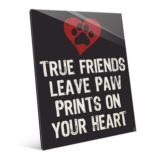 'Paw Print Friends with Red Heart' Wall Art on Glass (2 options available)