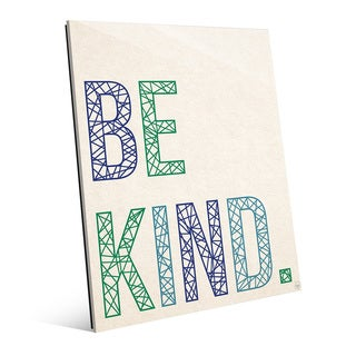 'Be Kind in Blue and Green Lines' Wall Art on Glass
