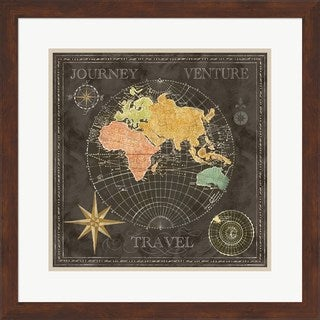 Cynthia Coulter 'Old World Journey Map Black II' Framed Art