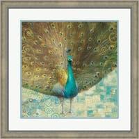 Danhui Nai 'Teal Peacock on Gold' Framed Art