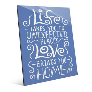 Love Brings You Home Blue Wall Art Print on Glass