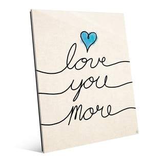 'Love You More Script Blue Heart' Glass Wall Art