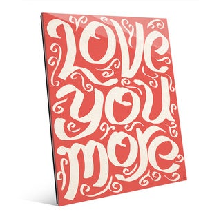 'Love You More on Red' Wall Art Print on Glass