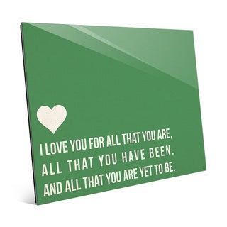 'I Love All That You Are' Green Wall Art on Glass