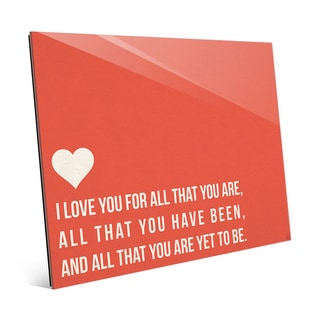 'I Love All That You Are' Red Wall Art on Glass