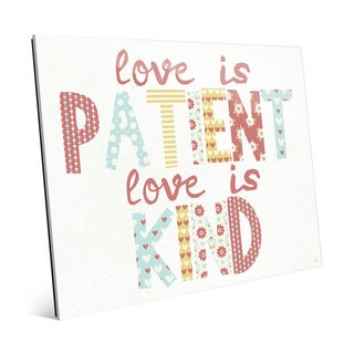 'Love is Patient, Kind' Glass Nursery Wall Art