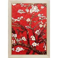 Vincent Van Gogh 'Branches of an Almond Tree in Blossom, Ruby Red' Hand Painted Framed Oil Reproduction on Canvas
