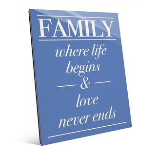 'Family Life Begins, Never Ends' Wall Art on Glass