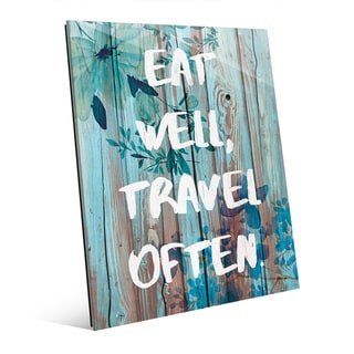 'Eat Well, Travel Often' Blue Wall Art on Glass