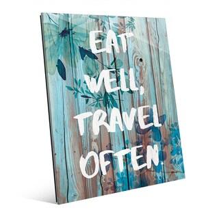 'Eat Well, Travel Often' Blue Wall Art on Glass