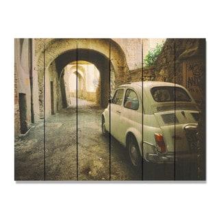 French Fiat 33x24 Indoor/Outdoor Full Color Cedar Wall Art