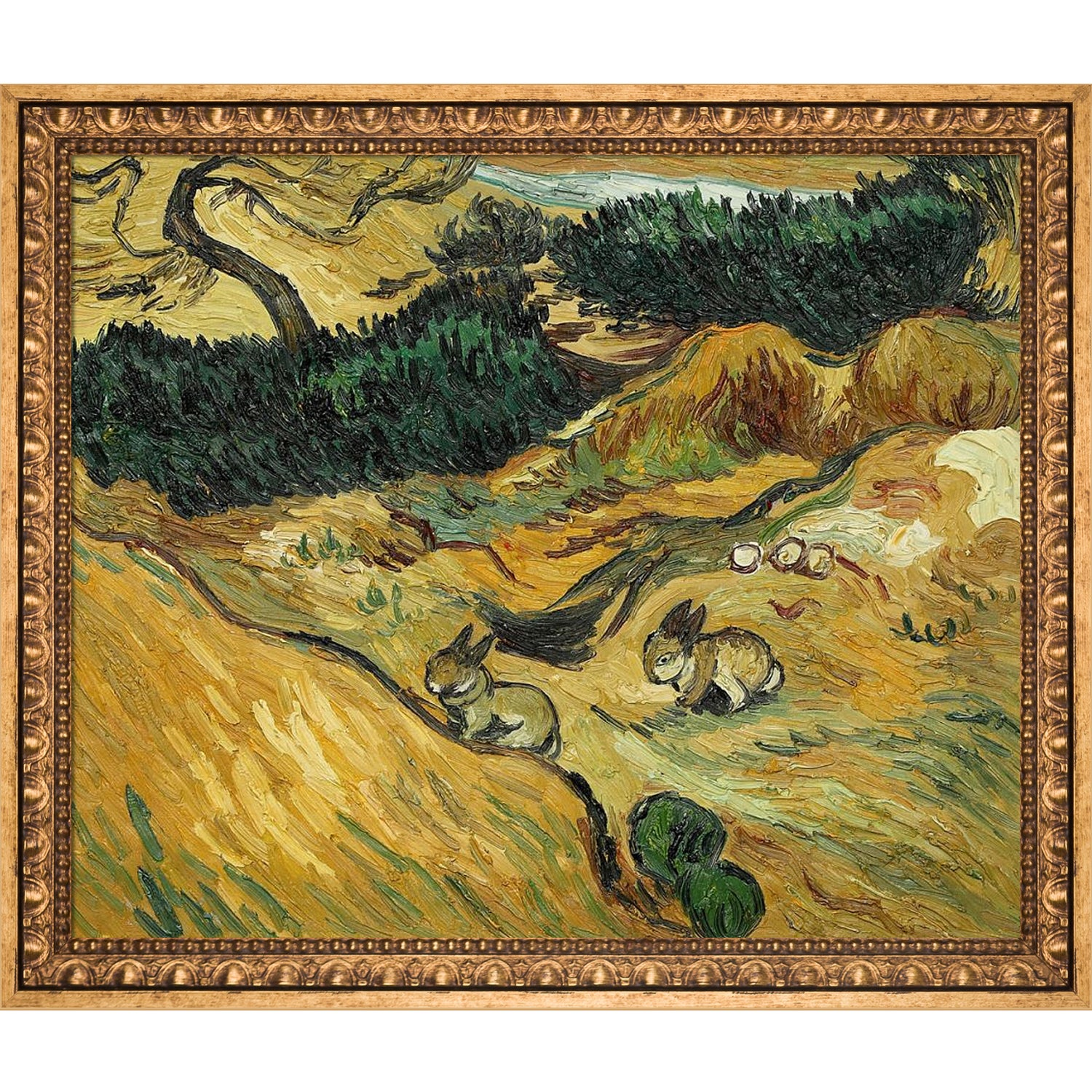 Vincent Van Gogh 'Two Rabbits' Hand Painted Framed Oil Re...