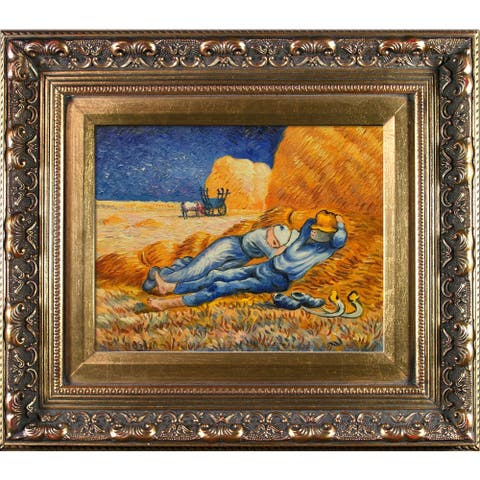 Vincent Van Gogh 'Noon: Rest From Work' Hand Painted Framed Oil Reproduction on Canvas