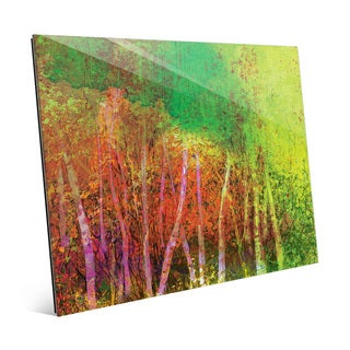 'Sprawling Chartreuse Grove' Glass Wall Art