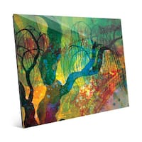 'Willowing Amber Silhouette' Wall Art Print on Glass