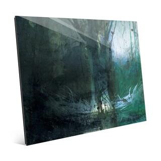 'Foreboding Cerulean Fir' Wall Art Print on Glass