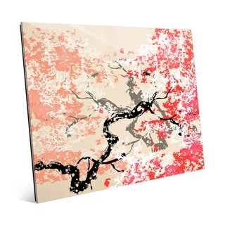 'Red Cherry Blossom' Glass Abstract Wall Art