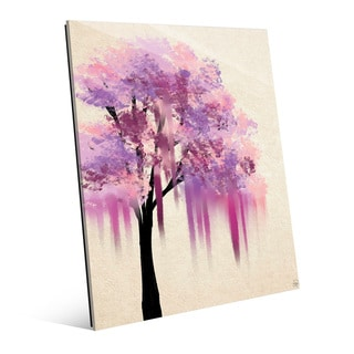 'Pink Melting Tree' Glass Wall Art