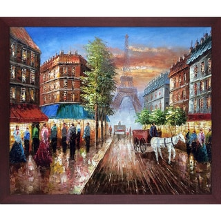 Au Revoir To The Light of Paris II' Hand Painted Framed Oil Reproduction on Canvas