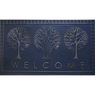 Home Fashion Designs Sawyer Collection Rubber Welcome Mat Tree Design