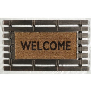 montpelier collection rubber mat with coir brush welcome mats welcome designhttps