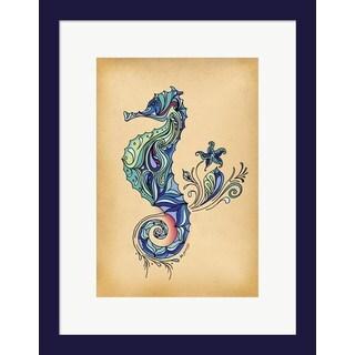 Green Girl Canvas 'Seahorse' Framed Art
