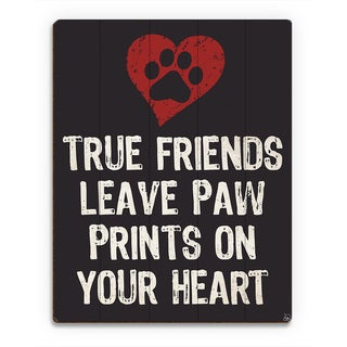 'Paw Print Friends Red Heart' Wood Wall Art Print (More options available)