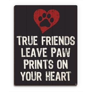 'Paw Print Friends Red Heart' Wood Wall Art Print