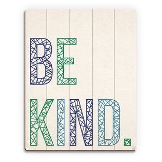 'Be Kind in Blue and Green Lines' Wood Wall Art