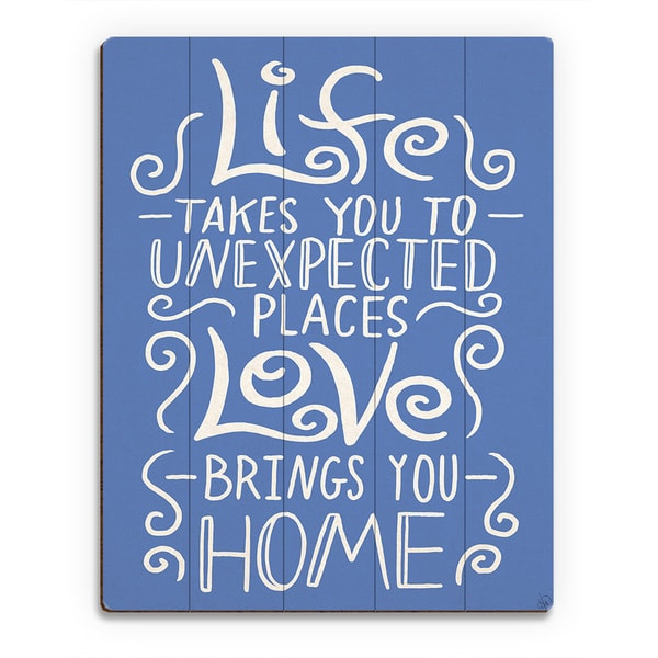 Love Brings You Home Blue Wall Art Print on Wood